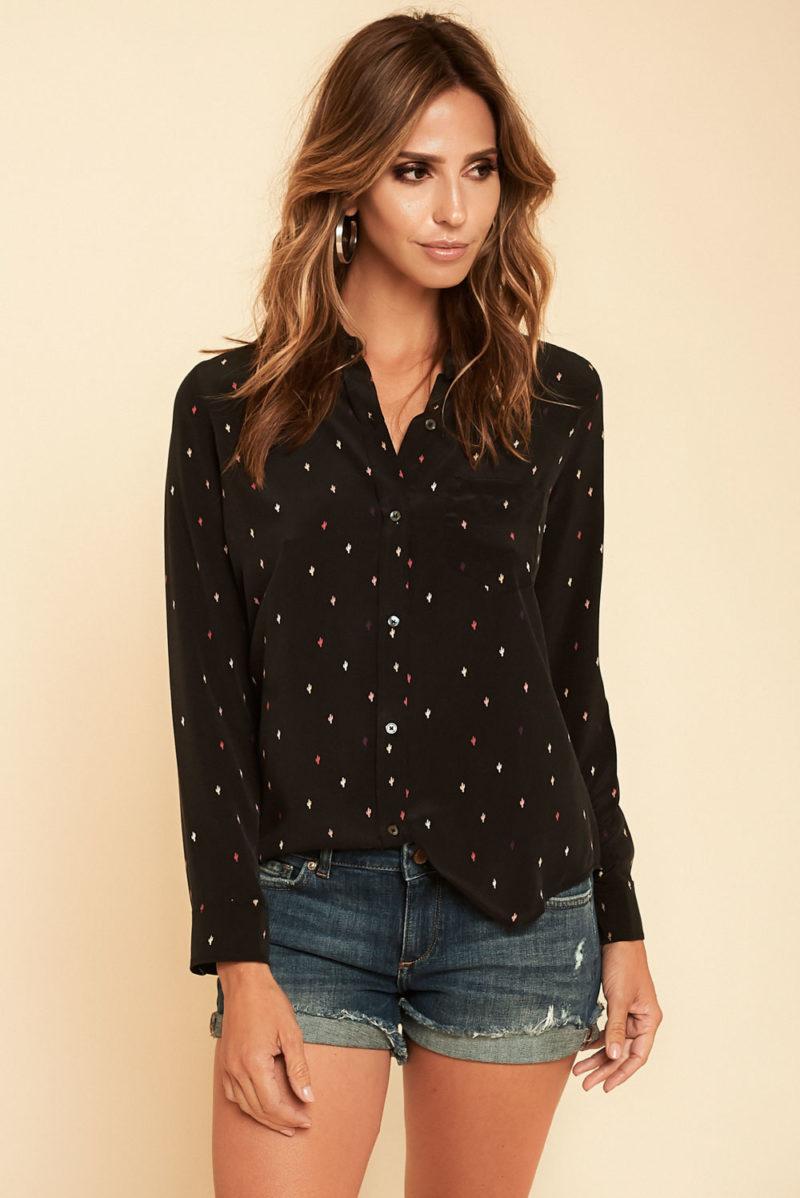 Rails: Kate Silk Top in Black