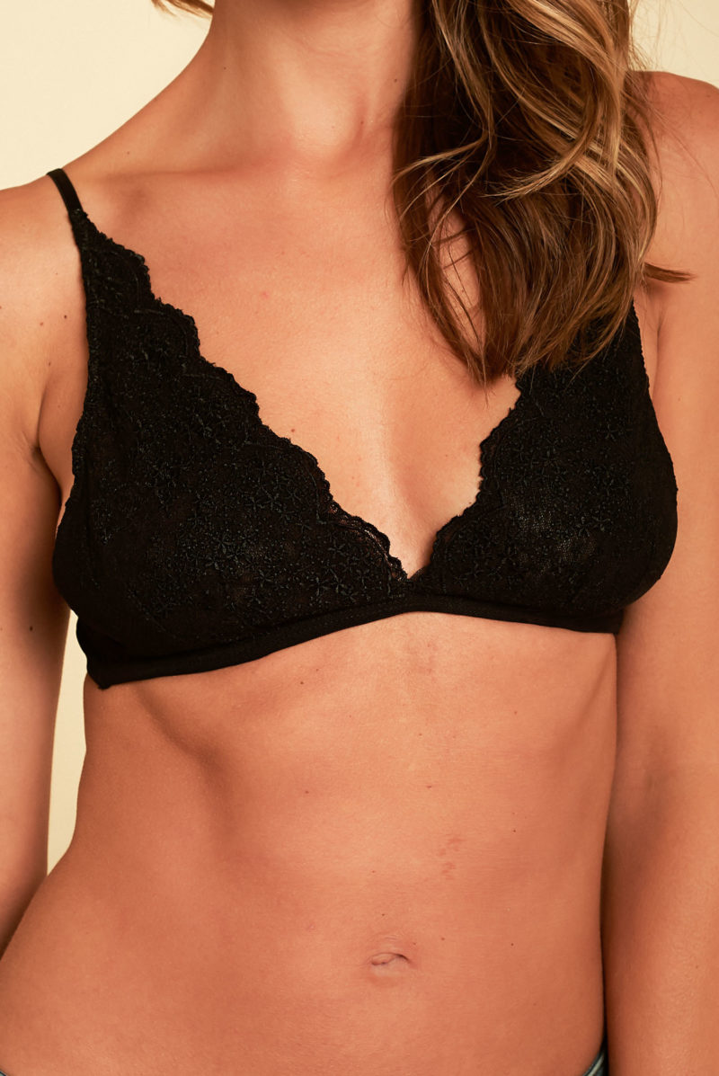 Gentle Fawn: Josette Lace Bralette in Black
