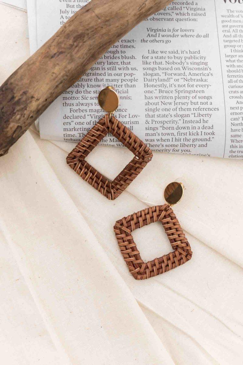 Not Too Square Earrings in Brown