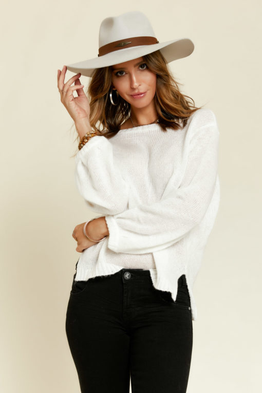 Wooden Ships: Charlotte Sweater in White