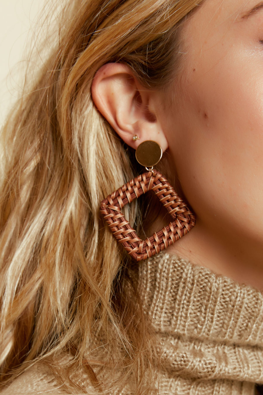 Not Too Square Earrings in Brown