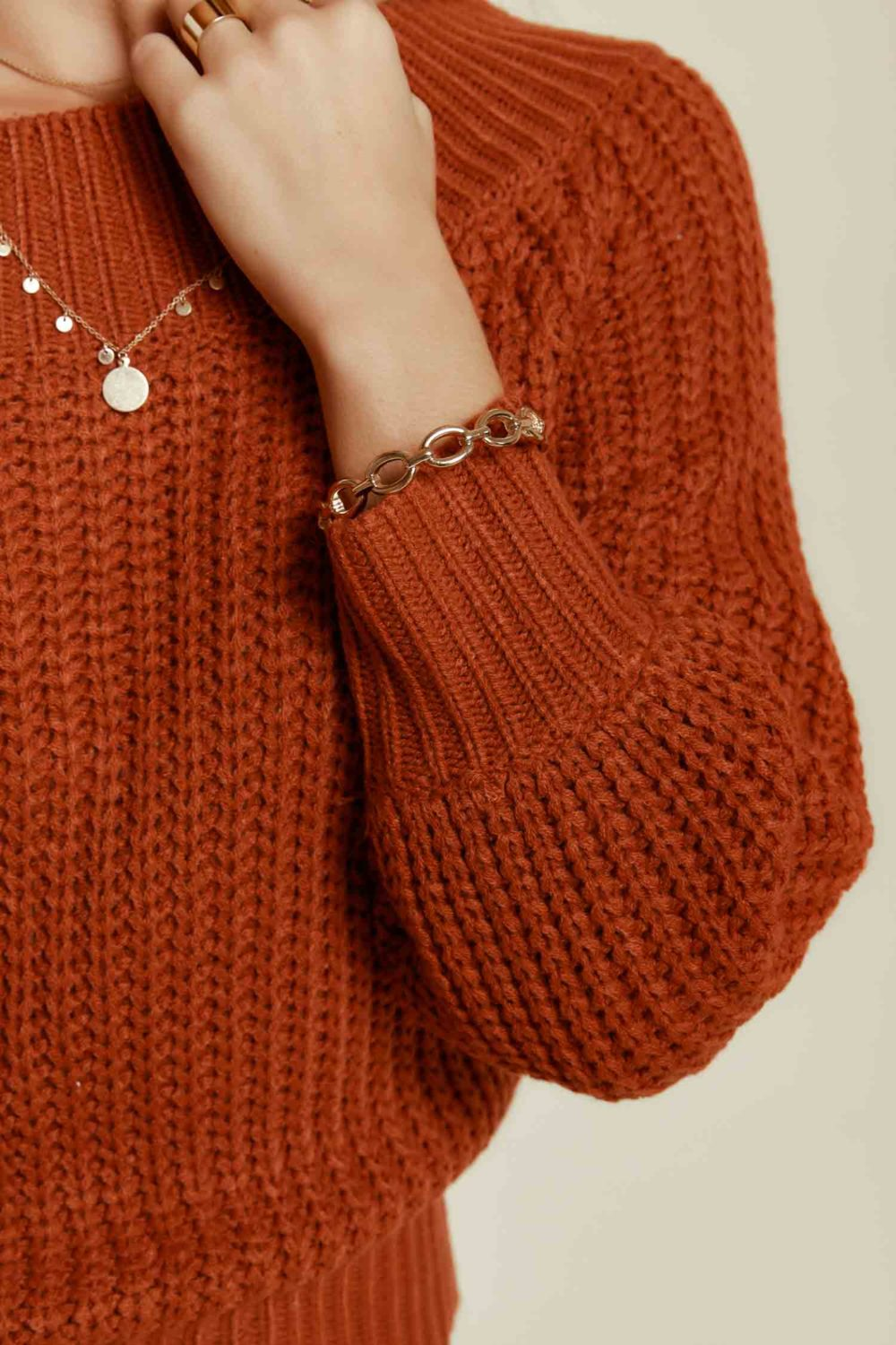 Off Duty Knit Sweater in Rust