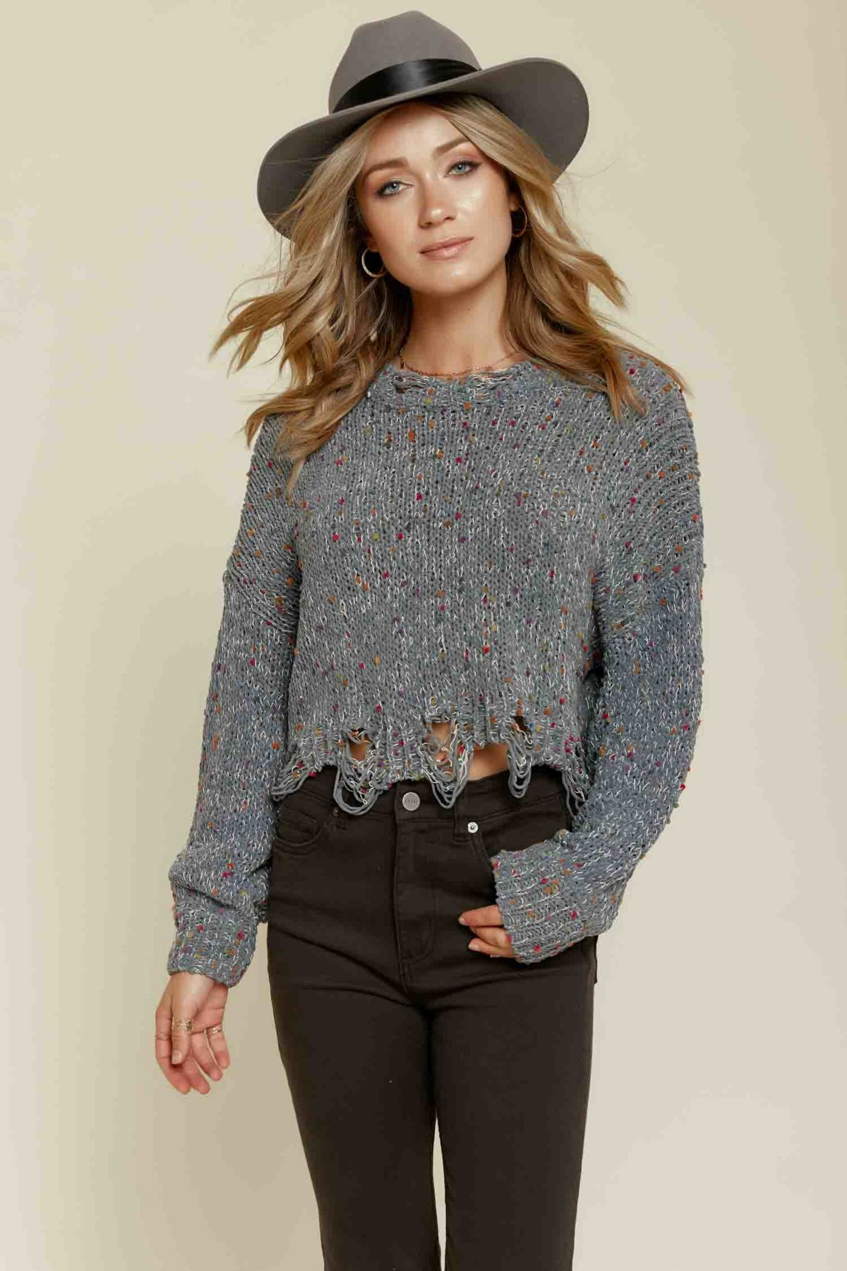 Livin On the Edge Sweater in Grey