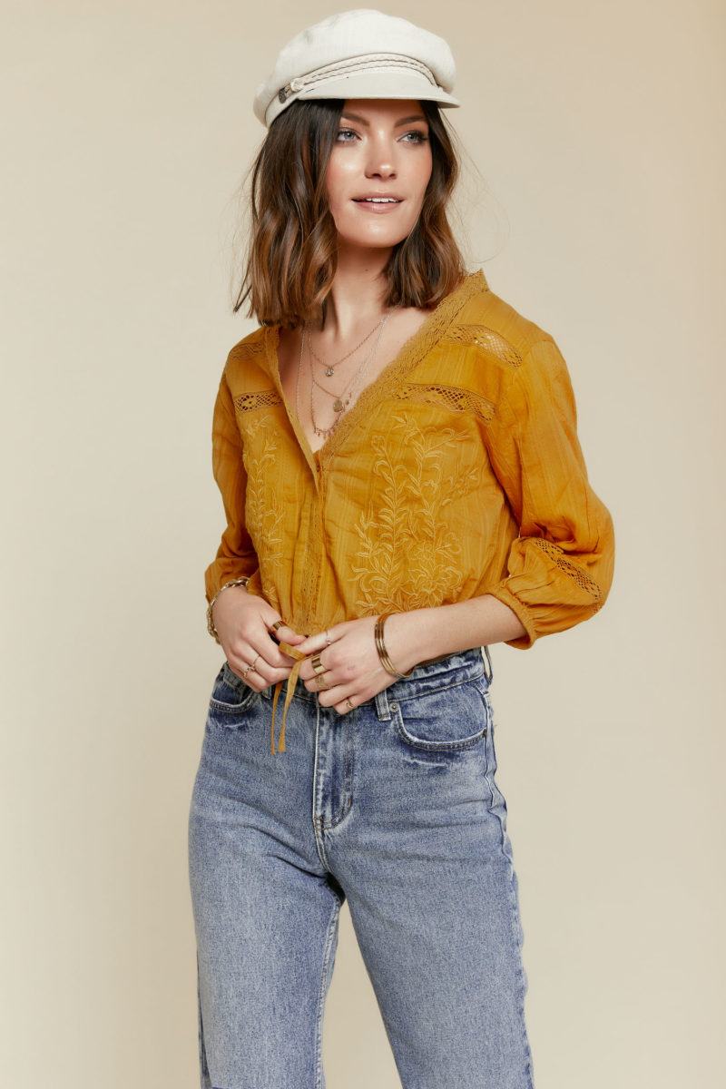 Free People: Follow Your Heart Top in Gold