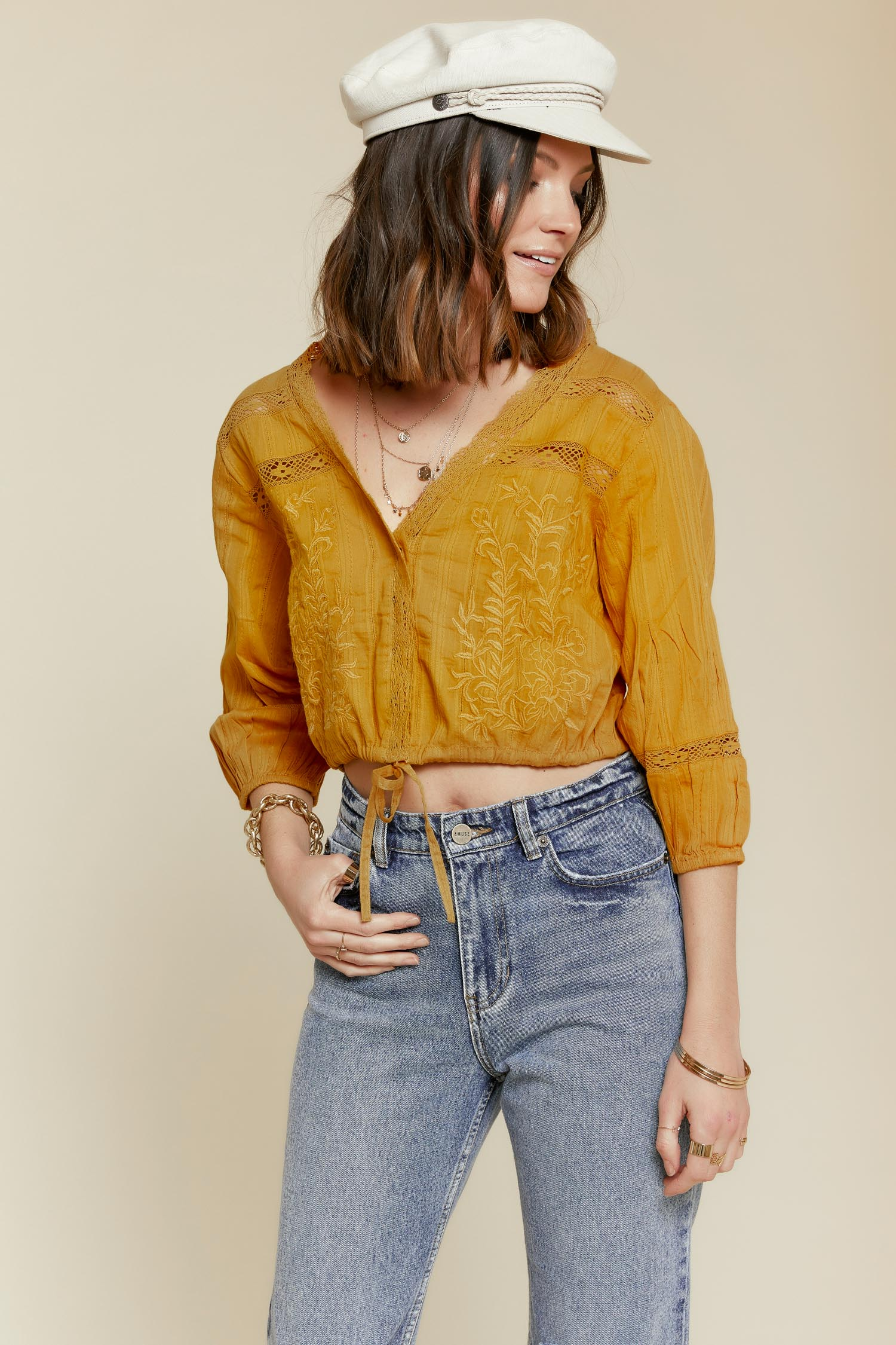 c01ff92e975 Free People  Follow Your Heart Top in Gold - BitterSweet Boutique