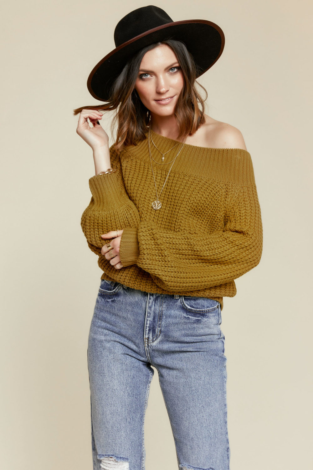Off Duty Off the Shoulder Sweater in Moss